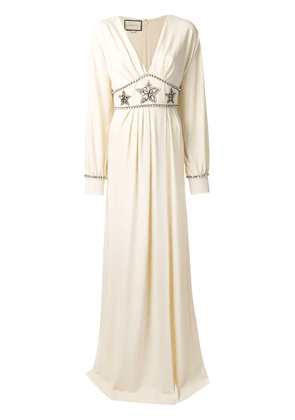 Gucci star embellished maxi dress - NEUTRALS