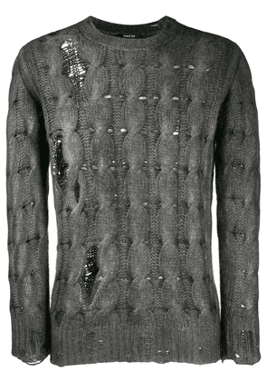 Avant Toi distressed knitted sweater - Grey