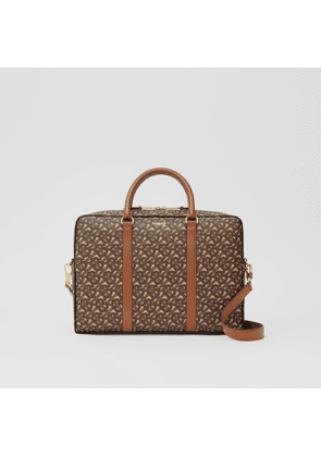 Burberry Monogram Print E-canvas and Leather Briefcase, Brown