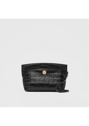 Burberry Embossed Leather Society Clutch, Black