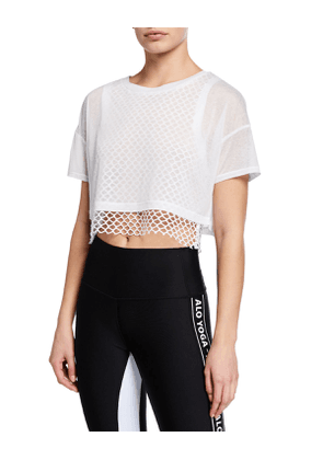 Afterglow Short-Sleeve Layered Crop Tee w/ Mesh
