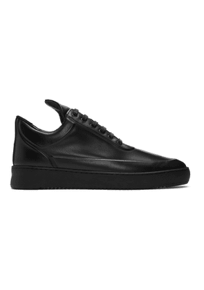 Filling Pieces Black Ripple Embossed Low Top Sneakers