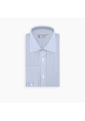 Navy and Light Blue Double Stripe Sea Island Quality Cotton Shirt.