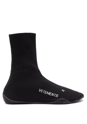 Vetements - Logo Jacquard Sock Trainers - Mens - Black