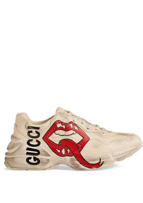 Gucci Rhyton sneaker with mouth print - White
