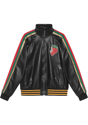 Gucci Leather bomber jacket with Gucci Strawberry - Black