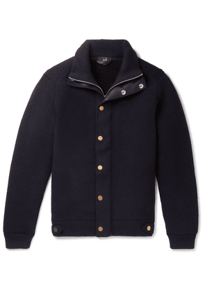 Dunhill - Shearling-lined Ribbed Wool-blend Zip-up Sweater - Navy