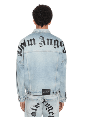 Logo Print Over Cotton Denim Jacket