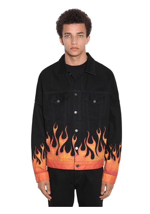 Burning Flames Print Cotton Denim Jacket