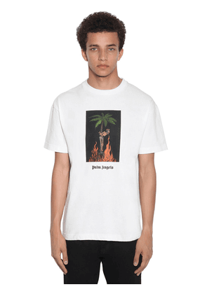 Burning Print Cotton Jersey T-shirt