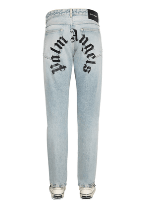 Logo Print Cotton Denim Jeans