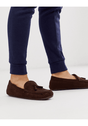 ASOS DESIGN slippers in brown with faux fur lining