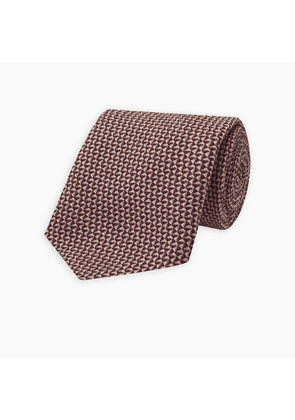 Burgundy Micro Wool and Silk Blend Textured Tie