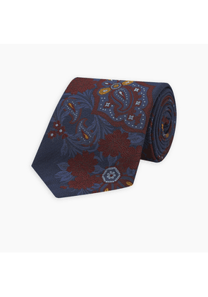 Navy and Burgundy Floral Herringbone Silk and Cotton Blend Tie