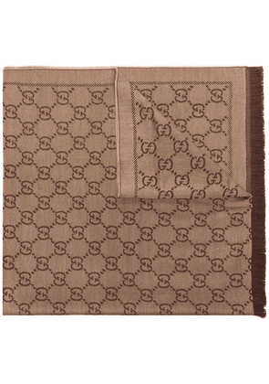 Gucci monogram knitted scarf - Brown