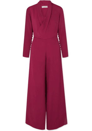 Vanessa Cocchiaro - The Tina Wrap-effect Crepe Jumpsuit - Burgundy