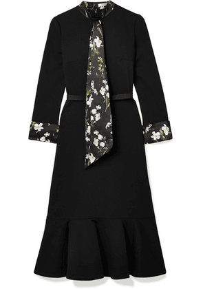 Erdem - Hilma Belted Floral-print Satin-trimmed Stretch-ponte Midi Dress - Black