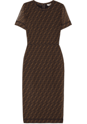 Fendi - Printed Stretch-mesh Midi Dress - Brown