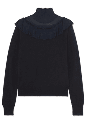 Chloé - Ruffled Ribbed-knit And Wool Sweater - Navy