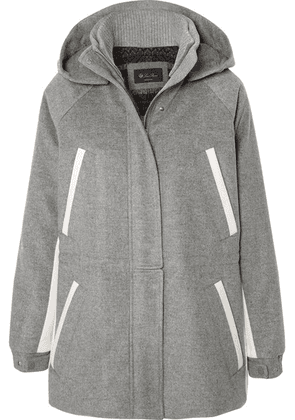 Loro Piana - Hooded Leather-trimmed Cashmere Parka - Light gray