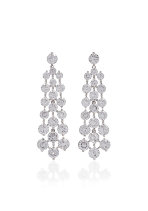 FALLON Tracks Rhodium-Plated Crystal Earrings