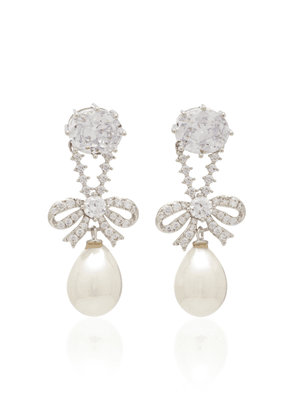 FALLON Silver-Tone, Crystal And Pearl Earrings