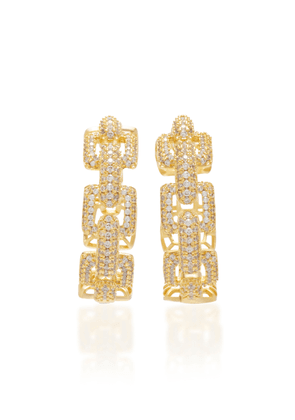FALLON Gold-Tone And Crystal Hoop Earrings