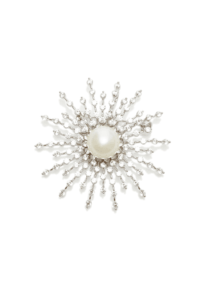 FALLON Silver-Tone, Crystal And Pearl Brooch