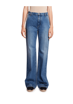 Flared High-Rise Washed Denim Jeans