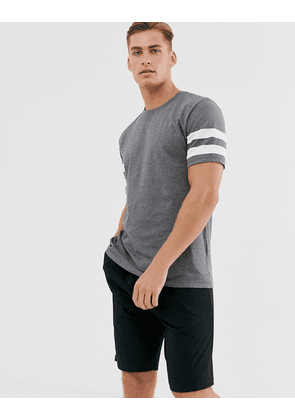 ASOS DESIGN lounge pyjama short and tshirt set with stripe and branded waistband in charcoal marl-Grey