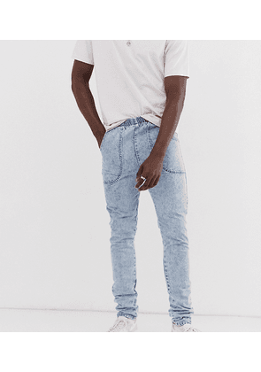 ASOS DESIGN Tall slim jeans in acid wash blue with elasticated waist