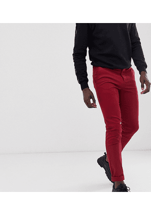 ASOS DESIGN Tall slim chinos in wine red