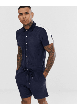 ASOS DESIGN towelling short jumpsuit with side stripe in navy