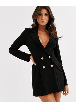 ASOS DESIGN glam double breasted jersey blazer-Black