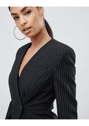 ASOS DESIGN suit blazer with sharp shoulders in cut about pinstripe-Multi