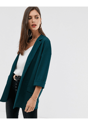 ASOS DESIGN easy relaxed blazer in textured jersey-Green