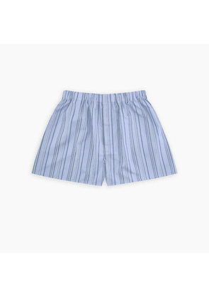 Turquoise and Blue Tower Stripe Cotton Boxer Shorts