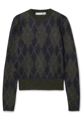 Victoria Beckham - Argyle Mohair-blend Sweater - Midnight blue
