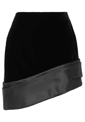 SAINT LAURENT - Asymmetric Silk-satin Trimmed Velvet Mini Skirt - Black