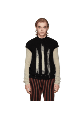 Ann Demeulemeester Black and Off-White Crewneck Sweater