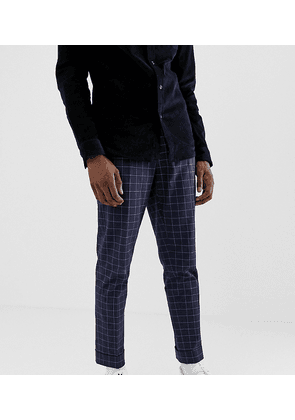 ASOS DESIGN Tall tapered smart trouser in navy and white windowpane check