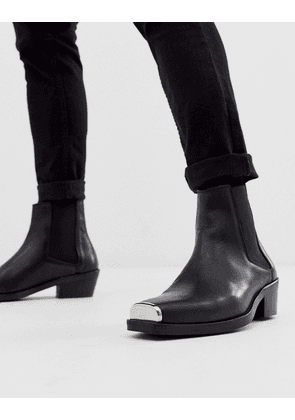 ASOS DESIGN cuban heel western chelsea boots in black leather with metal hardware
