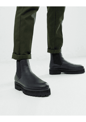ASOS DESIGN chelsea boots in black faux leather with black chunky sole