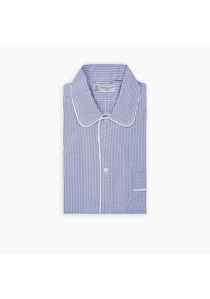BLUE MICRO CHECK PIPED COTTON NIGHTSHIRT