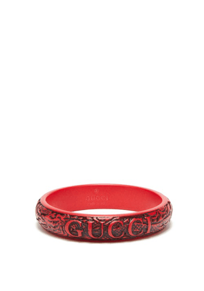 Gucci - Logo And Dragon-engraved Bangle - Mens - Red
