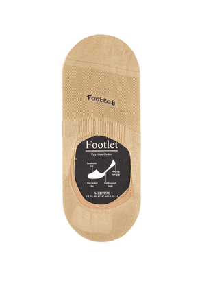 Pantherella - Footlet Cotton-blend Shoe Liners - Mens - Light Khaki