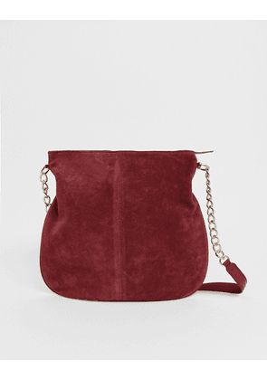 ASOS DESIGN suede shopper bag with chain strap-Red