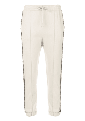 Gucci Cream Crystal Stripe Track Pants - NEUTRALS