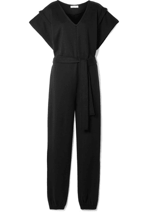 Ninety Percent - + Net Sustain Belted Organic Cotton-jersey Jumpsuit - Black
