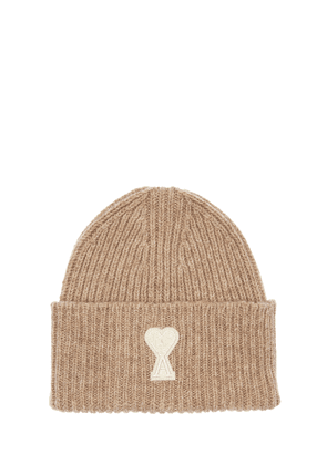 Wool Knit Beanie W/ Logo Patch